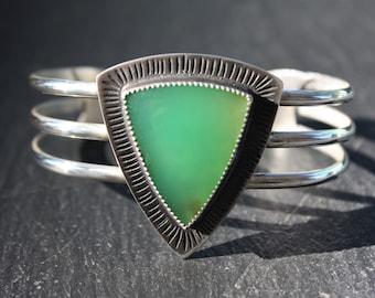 Chrysoprase, Sterling Silver, Cuff Bracelet