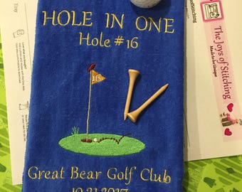 Hole in One, Personalized , Custom, Embroidered Hole in One Golf Towel, Commemorative Golf Towel