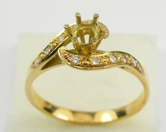 fd5a84aaaa Genuine 750 18k Yellow Gold 6 Claw Prong Brilliant Round Diamonds Unmounted  Solitaire Setting Ring