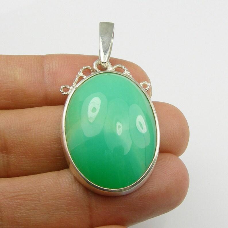 Australian Handmade Jewellery Large Oval Cabochon Light Green Natural Australian Jade Chrysoprase Pendant Genuine 925 Sterling Silver