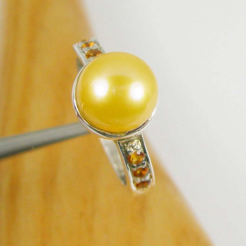 9mm Round Yellow Pearl and Natural Citrine Gemstone Solitaire Dress Ring Genuine 925 Sterling Silver RHM29