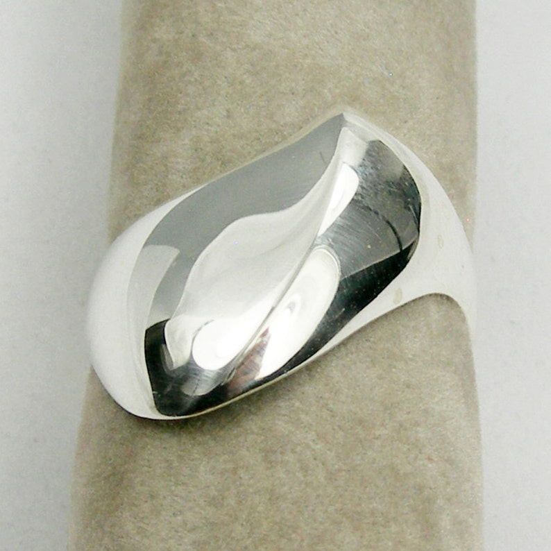 R3487 Australian Made Jewellery Abstract Curl Edge Plain Unisex Ring Genuine 925 Sterling Silver