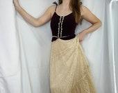 Vintage 1970s Candi Jones Burgundy Velvet Lace Prairie Maxi Dress Women 39 s 2