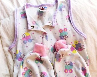 Vintage 90s Pastel Sleeveless Pajamas Playskool Play-J s Baby Infant Medium  6-9mos 0ec765e0c