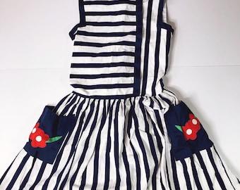 c069f47e259da CLR Vintage 1980s Navy Blue Striped Dress Floral Pocket Jayne Copeland Girls  8 Kids Children's