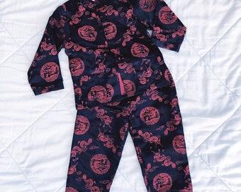 VTG 90s Red Black Dragon Authentic Chinese Pajamas Girls 6 769c5237b