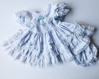 61695537ac895 Vintage 1980s Blue Floral Victorian Baby Dress Young + Fancy Girls 24mos  Easter Fancy Church Rare Kids Children's Southern Belle