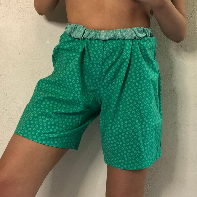 Vintage 1980s Green Floral Lounge Shorts Women/'s One Size Fits All OS