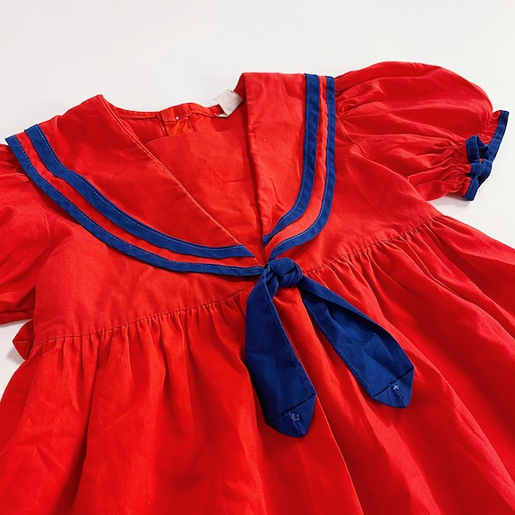 70s Nanette Too Dress 4T EASTER Girls Red Sailor … - image 4
