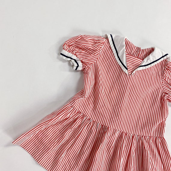 70s Dress 3T EASTER Red Striped Sailor Collar Nau… - image 6
