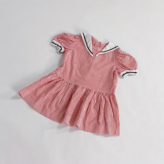 70s Dress 3T EASTER Red Striped Sailor Collar Nau… - image 9