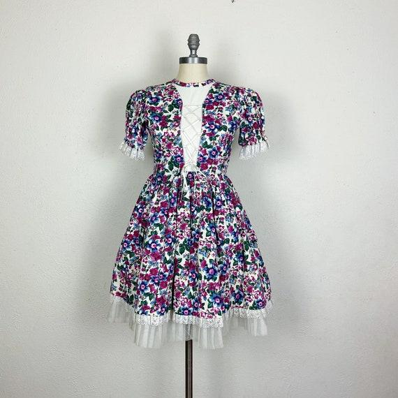 Vintage 1970s Handmade Purple Floral Milkmaid Dres