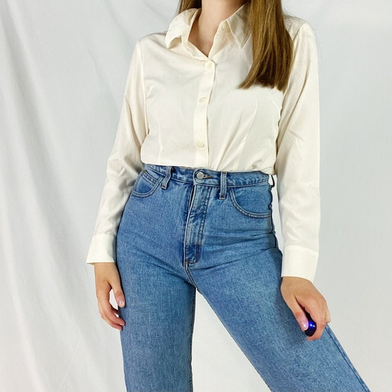 90s Coldwater Creek Blouse Medium Petite Eggshell