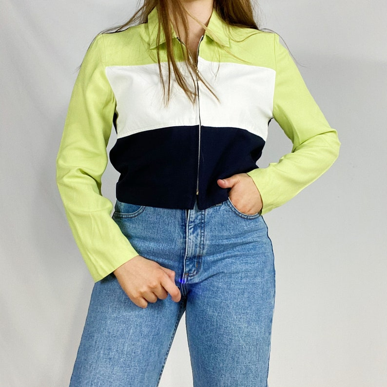 90s Taurus II Jacket Medium Lime Green Navy Blue White Zipper Zip Up Blazer Blouse Collared Womens Striped Color Block Vintage Small Vtg Y2K