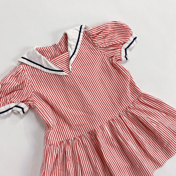 70s Dress 3T EASTER Red Striped Sailor Collar Nau… - image 1