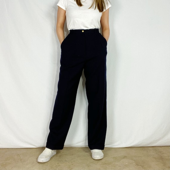 Vintage 90s Liz Claiborne Collection Dark Navy Blue Worsted Wool Navy Blue Side Zip Trousers
