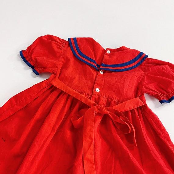 70s Nanette Too Dress 4T EASTER Girls Red Sailor … - image 6