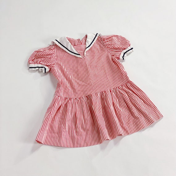 70s Dress 3T EASTER Red Striped Sailor Collar Nau… - image 8