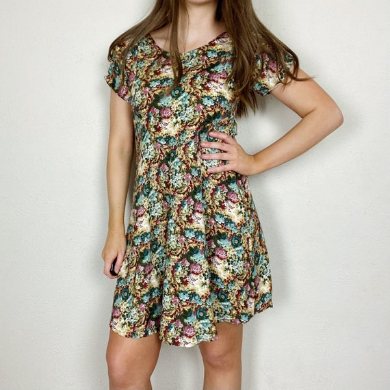 Vintage 1990s All That Jazz Floral Dress Women's S