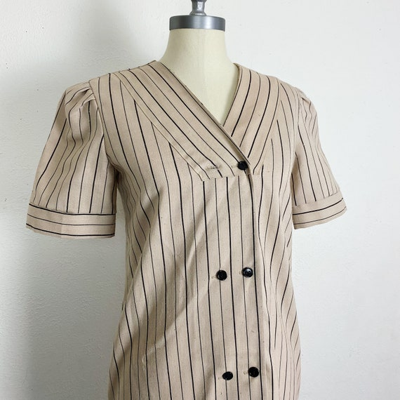 Vintage 1940s Brown Striped Dress Women's Small
