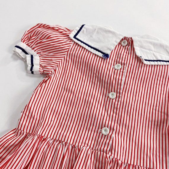 70s Dress 3T EASTER Red Striped Sailor Collar Nau… - image 4