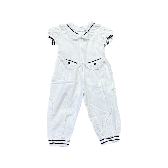 70s Jumpsuit 4T White Navy Blue Girls Toddler Kids