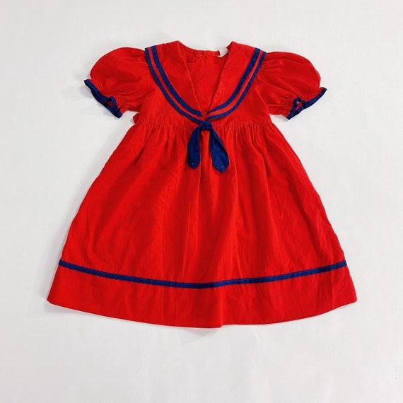 70s Nanette Too Dress 4T EASTER Girls Red Sailor … - image 2
