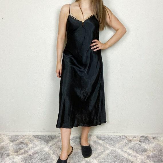 Vintage 1980s Black Satin Ankle Length Nightgown N