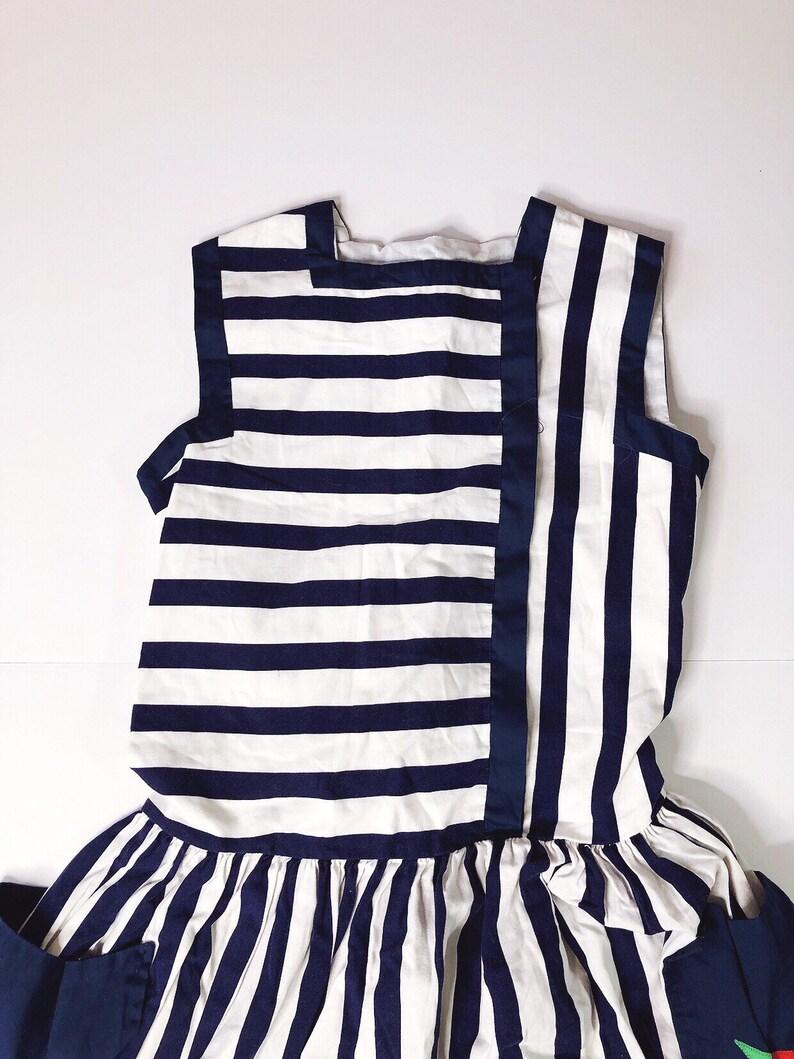 Vintage 1980s Jayne Copeland Navy Blue Striped Dress Floral Pocket Girls 8 Kids Children/'s