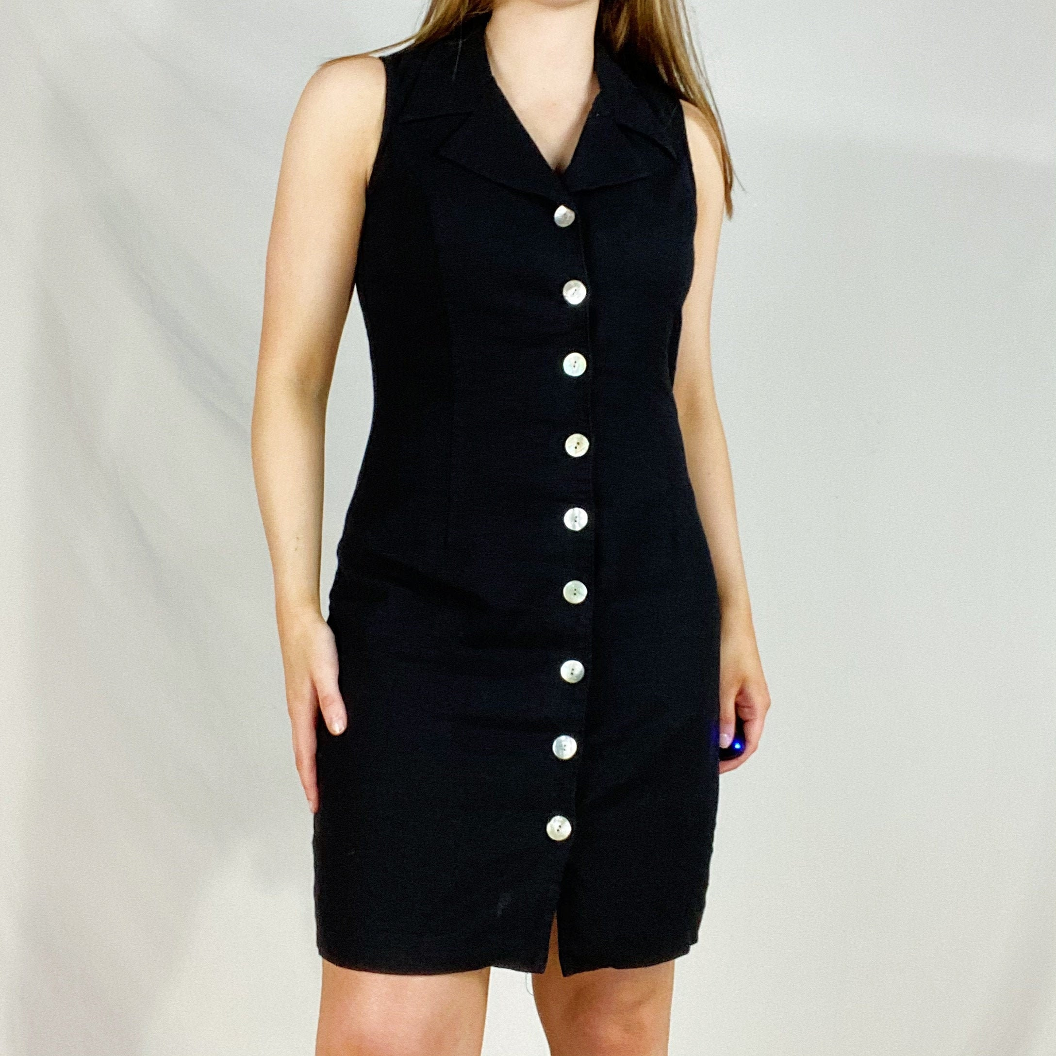 80s Dresses | Casual to Party Dresses 80S Carol Anderson Collection Black Button Front Collared Linen Mini Dress Minimalist Neutral Monochrome Knee Length Womens Vintage 90S $6.00 AT vintagedancer.com