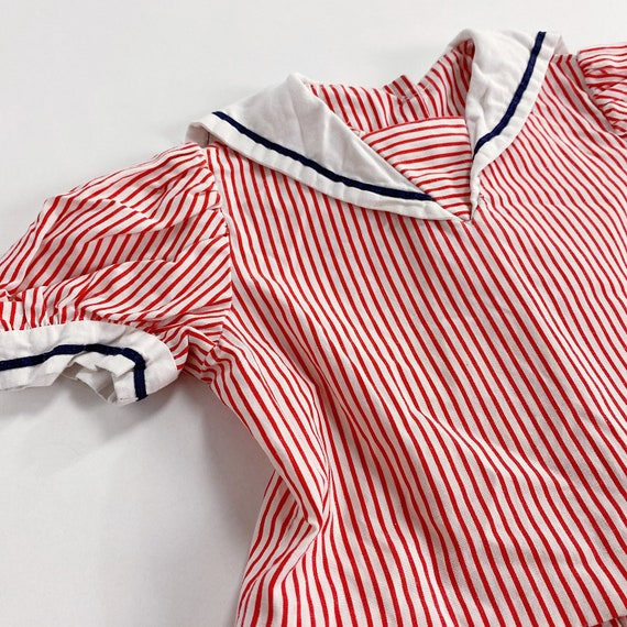 70s Dress 3T EASTER Red Striped Sailor Collar Nau… - image 3
