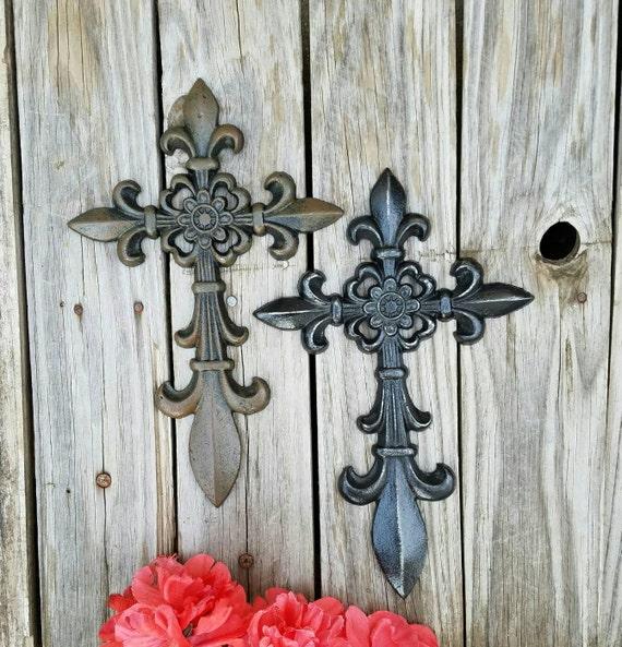 Wall cross cast iron cross Fleur de Lis rustic cross | Etsy