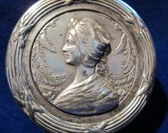 Antique art nouveau pill box, silver plated, with lady's head,  ca 1900