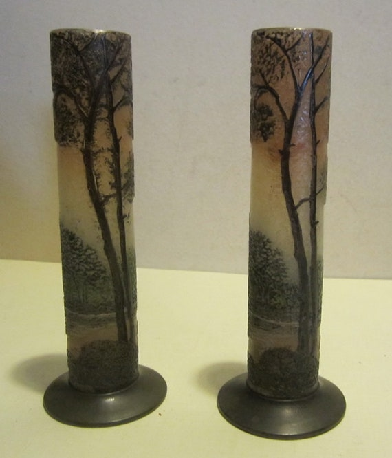 2 Cameo Glass Legras Miniature Vases Acid Etched Vase Etsy