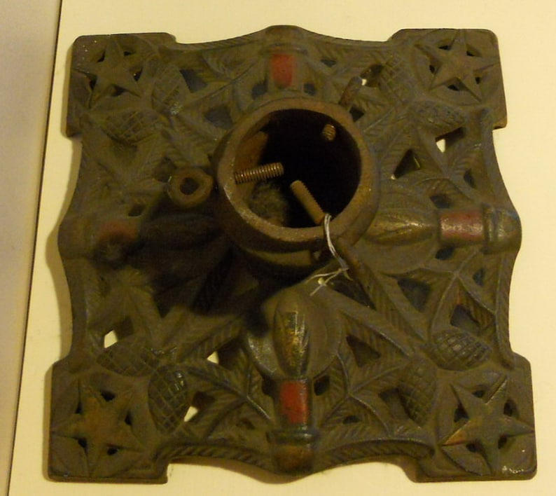 Antique Cast Iron Christmas Tree Stand Holder Heavy Base Etsy