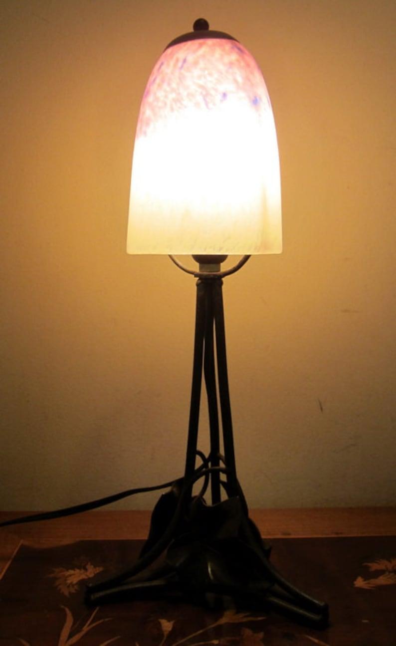 Antique French Art Nouveau Table Lamp Wrought Iron Pate De Etsy
