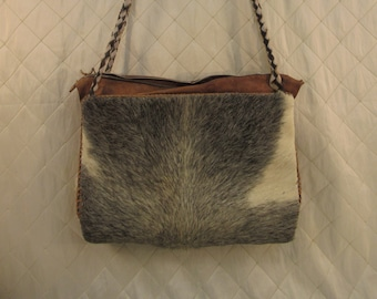 562631cad48c Vintage Pony Hair and Leather Handbag with Braided Leather Straps and  Matching Coin Pouch