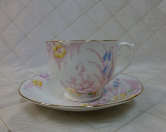 Royal York Bone China Teacup & Saucer Made in England Pink Floral