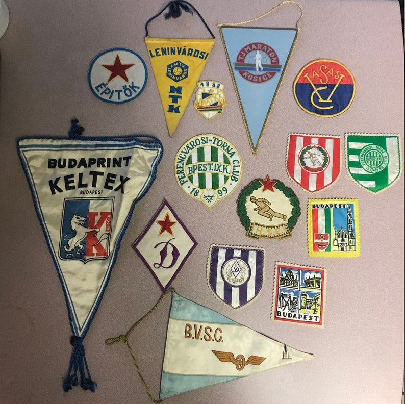 Vintage Patches and Pennants from Hungarian Sports 15 pieces Football  Sports Club MTK Budapest Badge
