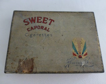 Sweet Caporal Tobacco Tin Imperial Tobacco Canada Cigarette Smoking Kinney Bros Vintage