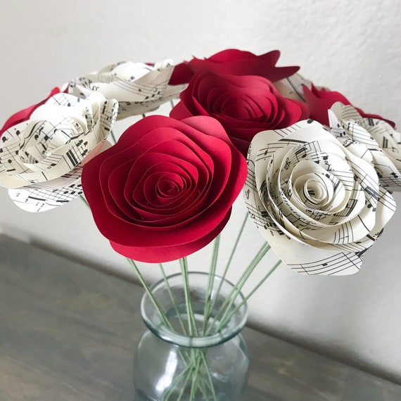 Paper Flowers Stemmed Music Sheet Red Roses Centerpieces