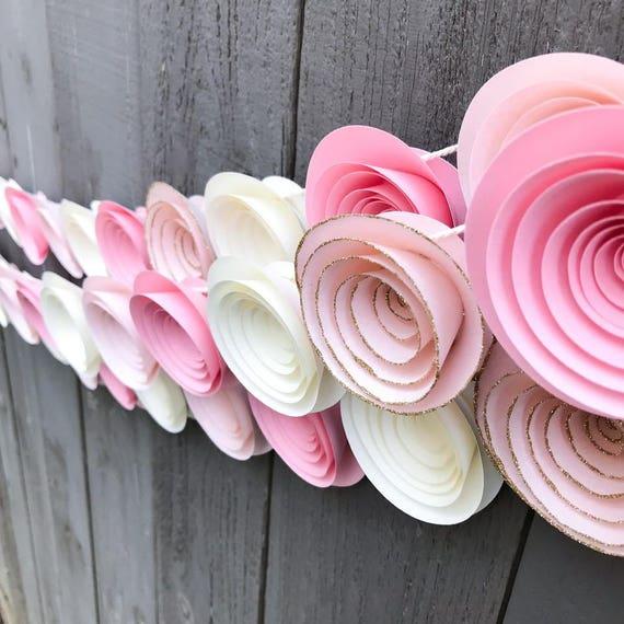 One pink ombre garland gold glitter garland paper flower garland il570xn mightylinksfo