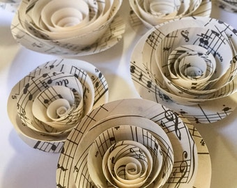 Paper Flowers - Music sheet Paper Flowers - Wedding Table Decorations - Baby Shower Decorations - Reception Decor - Table Decor - Confetti