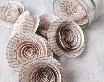 Book Flowers - Book Page Roses - Paper Roses - Wedding Flowers - Wedding Centerpieces - Paper Flowers - Paper Roses - Book Art - Vintage