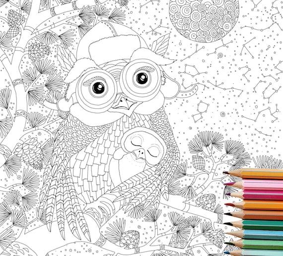 Coloring Pages Owl Digital Downloadanimal Coloring Book Etsy