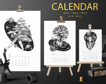 2018- 2019 year calendar From May till next May Mini Black & White Tattoo Animal Nature Space Desk Wall calendar Dog whale wolf fox