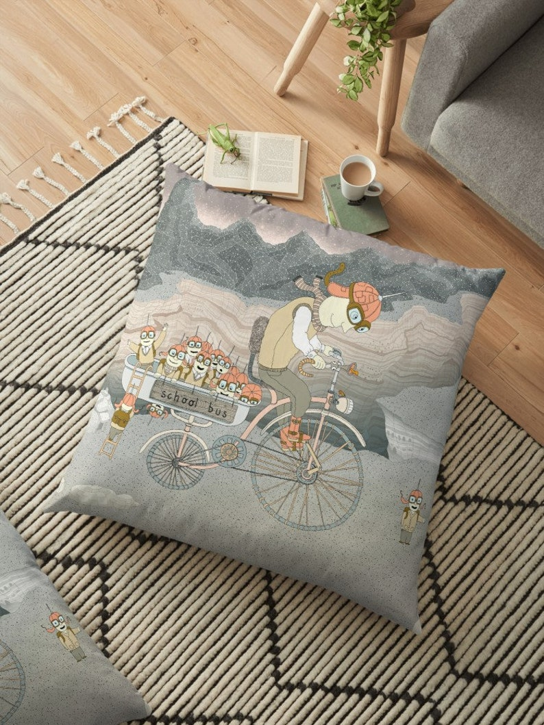Art on cushion pillow cover School bus