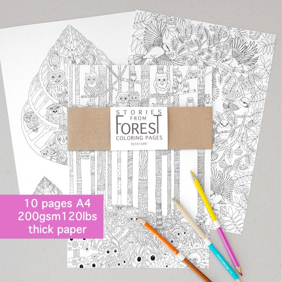 Coloring Book 10 Pages Nature Adult