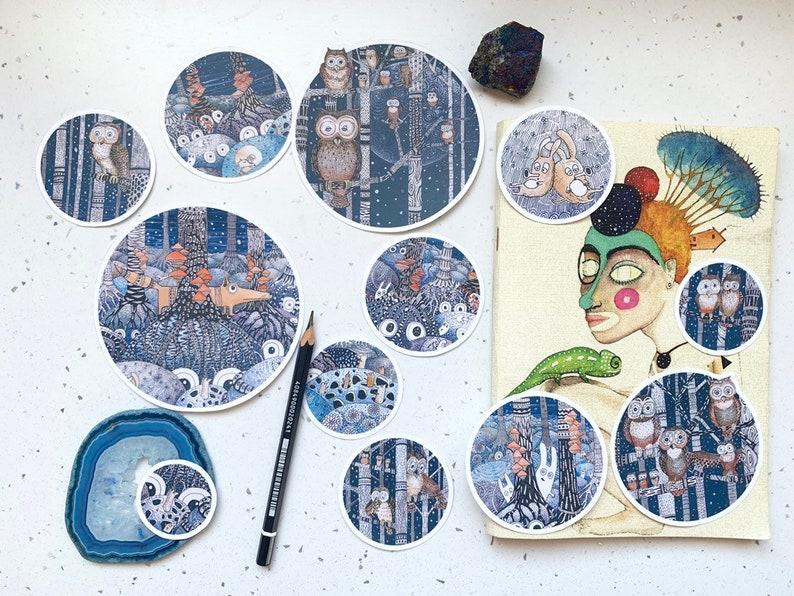 fox animal sticker pack hand painted illustrations nature Bird Planner Scrapbooking Stickers 13 Owl forest vinyl Sticker set