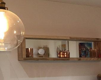 Reclaimed Wood Box Shelf with Mirrored Back